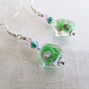 Green and Pink lampwork Floral earrings
